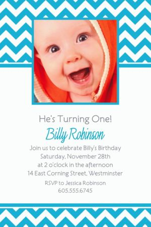 Custom Caribbean Blue Chevron Photo Invitations