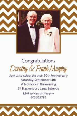 Custom Gold Chevron Photo Invitations