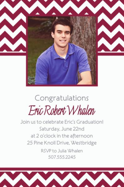 Berry Chevron Custom Photo Invitation