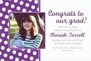 Custom Purple Polka Dot Photo Invitations