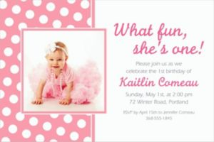 Custom Pink Polka Dot Photo Invitations