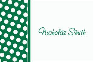 Custom Festive Green Polka Dot Thank You Notes