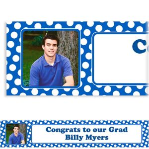Custom Royal Blue Polka Dot Photo Banner 6ft