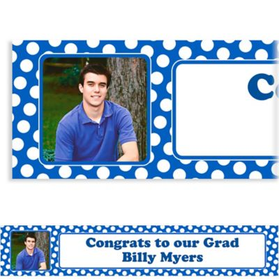 Royal Blue Polka Dot Custom Photo Banner