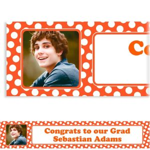 Custom Orange Polka Dot Photo Banner 6ft