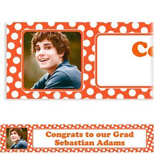 Custom Orange Polka Dot Photo Banner 6ft