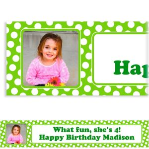 Custom Kiwi Polka Dot Photo Banner 6ft
