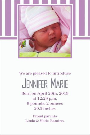 Custom Lavender Stripe Photo Invitations