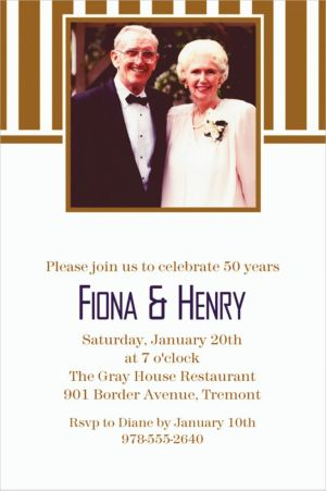 Custom Gold Stripe Photo Invitations