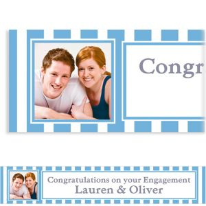 Custom Pastel Blue Stripe Photo Banner 6ft