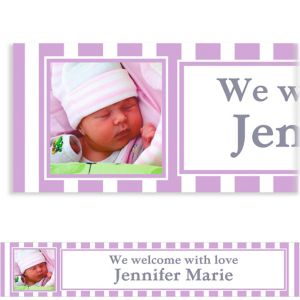 Custom Lavender Stripe Photo Banner 6ft