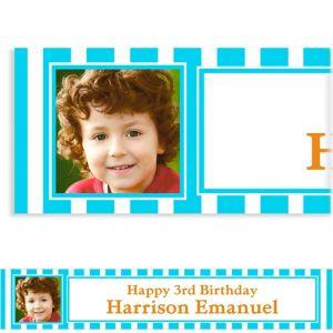 Custom Caribbean Blue Stripe Photo Banner 6ft