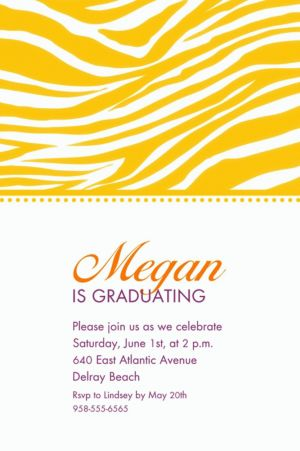 Custom Sunshine Yellow Zebra Invitations