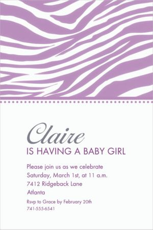 Custom Lavender Zebra Invitations