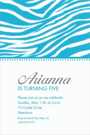 Custom Caribbean Blue Zebra Invitations