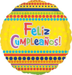 Feliz Cumpleanos Balloon - Yellow Dots
