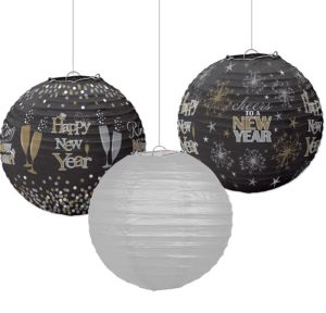 Sparkling New Year's Paper Lanterns 3ct