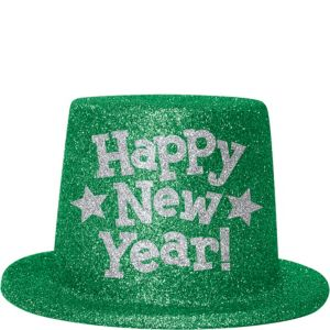 Green Glitter New Year's Top Hat