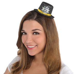 Black Happy New Year Glitter Mini Top Hat