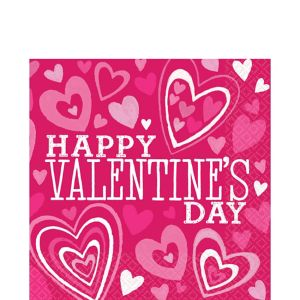 Bright Valentine's Day Lunch Napkins 36ct