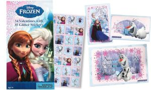 Frozen Valentine Exchange Cards with Stickers 34ct
