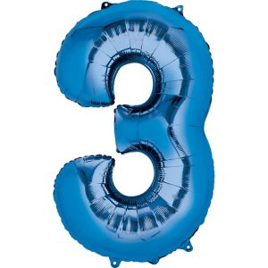Giant Blue Number 3 Balloon 20in X 34in