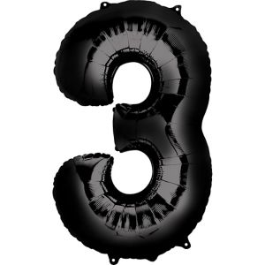 Number 3 Balloon - Black