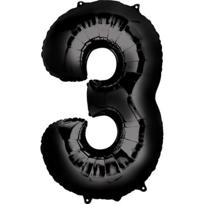 Black Number 3 Balloon Party City