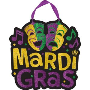 Glitter Comedy & Tragedy Mardi Gras Sign