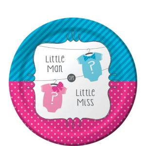 Little Man, Little Miss Gender Reveal Dessert Plates 8ct