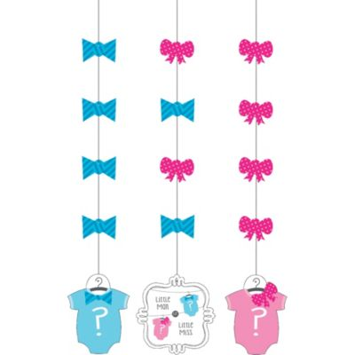 Little Man, Little Miss Gender Reveal String Decorations 3ct