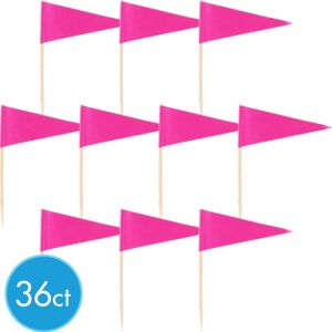 Bright Pink Cupcake Picks 36ct