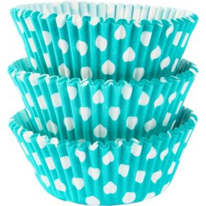 Robin's Egg Blue Polka Dot Baking Cups 75ct
