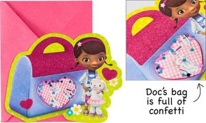 Premium Glitter 3D Doc McStuffins Invitations 8ct