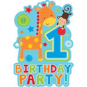 Wild at One Boy's 1st Birthday Invitations 8ct