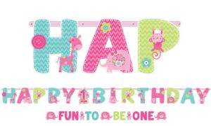 Wild at One Girl's 1st Birthday Banners 2ct