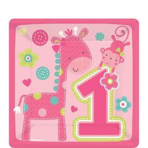 Wild at One Girl's 1st Birthday Dessert Plates 8ct