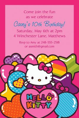 Custom Hello Kitty Rainbow Photo Invitations Party City