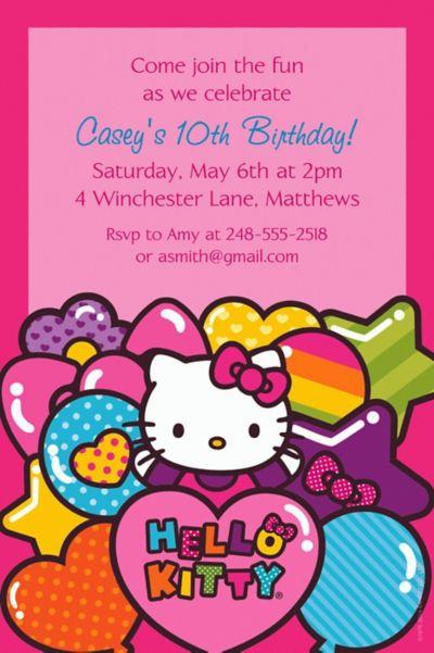 Custom Hello Kitty Rainbow Invitations