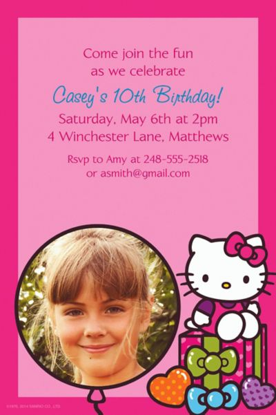 Custom Hello Kitty Rainbow Photo Invitations