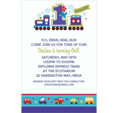 Custom All Aboard Birthday Invitations