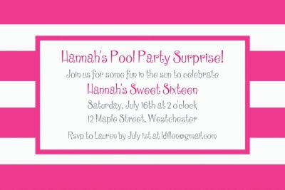 Pink Cabana Stripe Custom Invitation