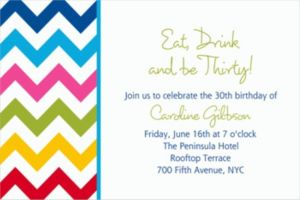 Custom Bright Rainbow Chevron Invitations