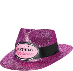 Glitter Pink Birthday Princess Fedora