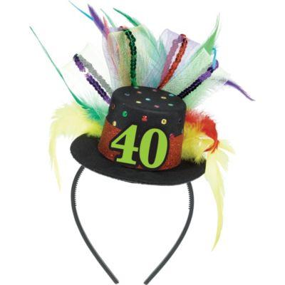 40th Birthday Mini Top Hat Headband
