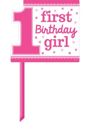 Pink Girl 1st Birthday Yard Sign