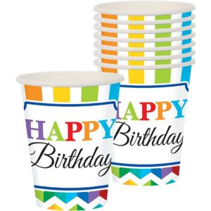 Bright Chevron Birthday Cups 8ct