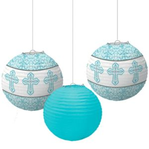 Blue Communion Paper Lanterns 3ct