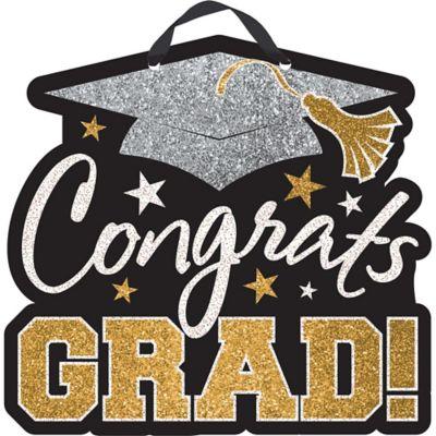 Black Gold Amp Silver Glitter Congrats Grad Graduation Sign