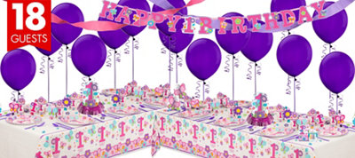 Sweet Girl 1st Birthday Party Supplies Deluxe Party Kit